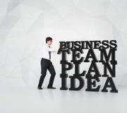 Man pushing  business word Stock Photos