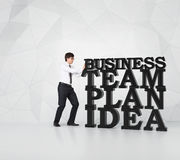 Man pushing  business word Stock Photography