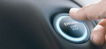 Man Pushing A Car Engine Start Push Button, Ignition Switch stock photography