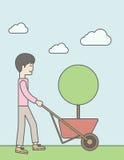 Man pushing cart Royalty Free Stock Photos
