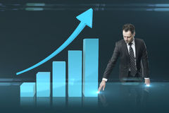 Man pushing chart interface Stock Photography