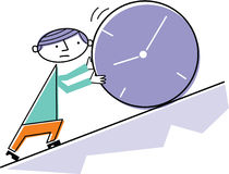 Man pushing clock uphill Royalty Free Stock Photos