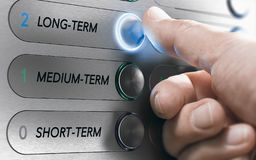 Asset Management, Long-Term Investment or Project Concept. Man pushing an elevator buttons where it is written long term. Investment Concept. Composite image stock photography