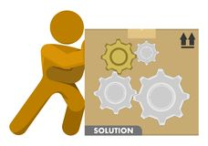 Man Pushing Gear Wheels Solution Box Illustration royalty free stock image