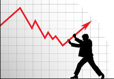 Man pushing the graph up. Concept vector anti-crisis image. Man pushing the graph up