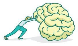Man pushing a huge brain forward Royalty Free Stock Images