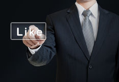 Man pushing the like button Royalty Free Stock Photography