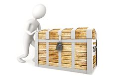 Man pushing a pirate chest Stock Image