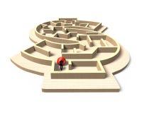 Man pushing red ball in money shape maze game Stock Photos
