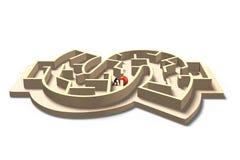 Man pushing red ball in money shape maze game Royalty Free Stock Image