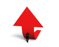 Man pushing red trend 3D arrow upward Stock Photos