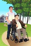 Man pushing a senior man in a wheelchair vector illustration
