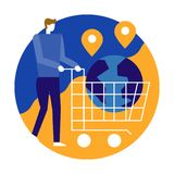 Man pushing shopping cart with globe. Online Shopping and Online stock illustration
