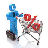 Man pushing a shopping cart with percent royalty free illustration