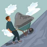 Man pushing stone uphill on wheelbarrow, vector illustration royalty free illustration