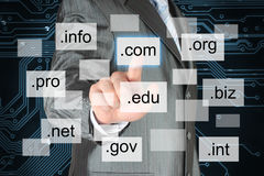 Man pushing virtual domain name Stock Image