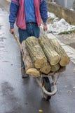 Man pushing wheelbarrow full of logs Royalty Free Stock Photos