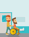Man pushing the wheelchair with broken leg patient Stock Images