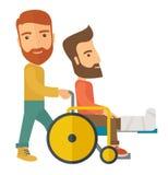 Man pushing the wheelchair with broken leg patient Stock Photos