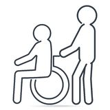 Man pushing wheelchair of man patient or eldery man icon. Medical care concept, simple line style illustration vector illustration