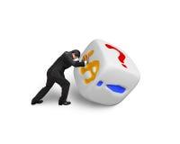 Man pushing white dice Royalty Free Stock Images
