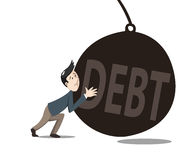 Man pushint the debt. A man pushing the debt away from him Stock Photography