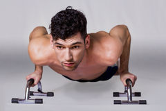 Man pushup. Handsome guy gym workout time Royalty Free Stock Photography