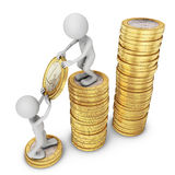 Man put a coin Royalty Free Stock Image