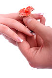 Man put a ring on her finger Stock Photography