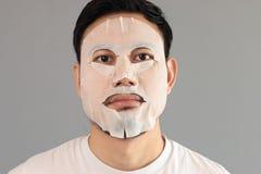 Man put on treatment mask. stock photo