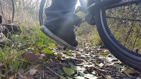 Man puts the bike in the park stock footage
