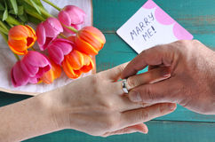 Man puts on engagement ring on his woman finger Stock Images