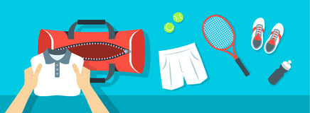 Man puts tennis stuff into sport bag vector banner Royalty Free Stock Photography