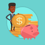 Man putting coin in piggy bank vector illustration Royalty Free Stock Images