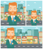 Man putting envelope in pocket vector illustration Royalty Free Stock Images
