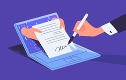 Free Man Putting Esignature Into Legal Document. Digital Signature Concept. Businessman Signing An Agreement Or Contract Royalty Free Stock Images - 183290429