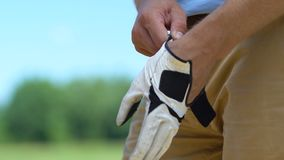 Man putting on and fixing on hand professional leather glove, golf game, hobby. Stock footage stock video