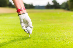Man putting golf ball on tee, close shot Royalty Free Stock Images