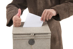 Man putting letter in mailbox,showing thumbs up gesture Stock Images
