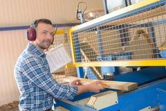 Man putting plank wood through machine. Man putting plank of wood through machine Stock Photos