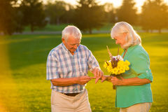 Man putting ring on woman. Senior couple with bouquet. This day is special. Celebrate the golden wedding Stock Photos