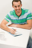 Man with puzzle book Stock Photo