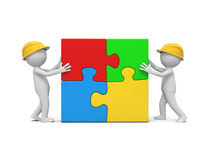 Man with puzzle. Two 3d man assembling 4 puzzle pieces Stock Images