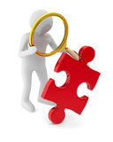 Man with puzzle on white background. 3D image Royalty Free Stock Image