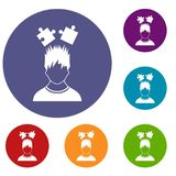 Man with puzzles over head icons set. In flat circle reb, blue and green color for web Royalty Free Stock Photography