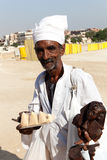 Man at pyramids Royalty Free Stock Images