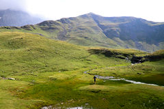 Man in pyrenees mountains Royalty Free Stock Image