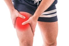 Man with quadriceps pain. Over white background Stock Photography