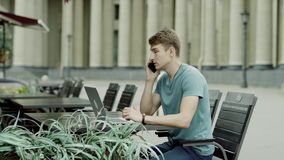 Man quarrelling on a phone stock footage