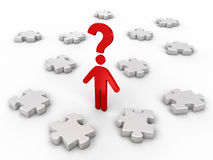 Man and question. Jigsaw puzzle concept 3d image Stock Photo